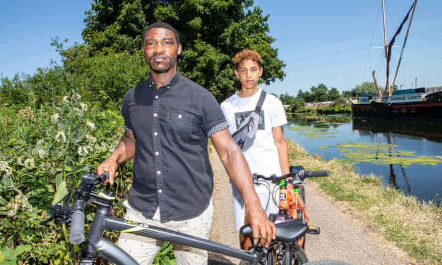 Andrew and Huugo Boateng on the towpath with their bicycles