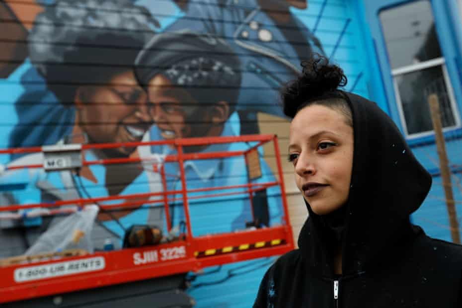 Rachel Wolfe-Goldsmith brings to life a mural dedicated to the women of the Black Panther party.