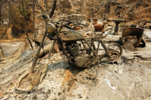 A burned out motorcycle