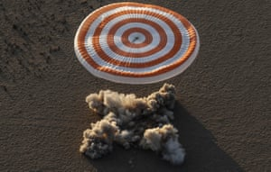The Soyuz capsule carrying astronauts Peggy Whitson and Jack Fischer of NASA and Fyodor Yurchikhin of the Russian space agency Roscosmos safely returns to earth on the Kazakh steppe