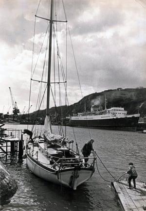 Preparing for the Guardian sponsored Vinland voyage, April 1966.