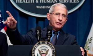 Dr Anthony Fauci, the US top infectious disease expert, addresses a press conference.