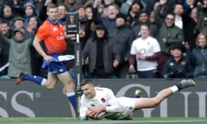 Jonny May scores his third try against France during another lightning fast start by England in this year's Six Nations.