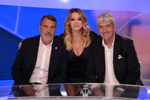 After retirement, Rossi went on to become a successful pundit on Italian TV. He is seen here on La Domenica Sportiva with Paola Ferrari and his old teammate Marco Tardelli.