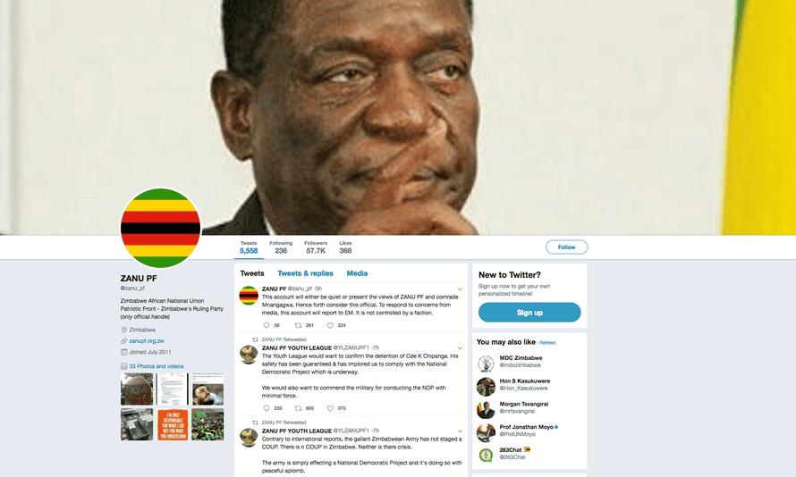A screengrab of the @zanu_pf account