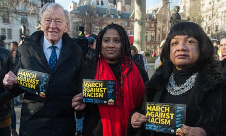 The Streatham MP, Bell Ribeiro-Addy (centre), and Diane Abbott (right) with Lord Dubs in Parliament Square in January 2020 promoting the March Against Racism.
