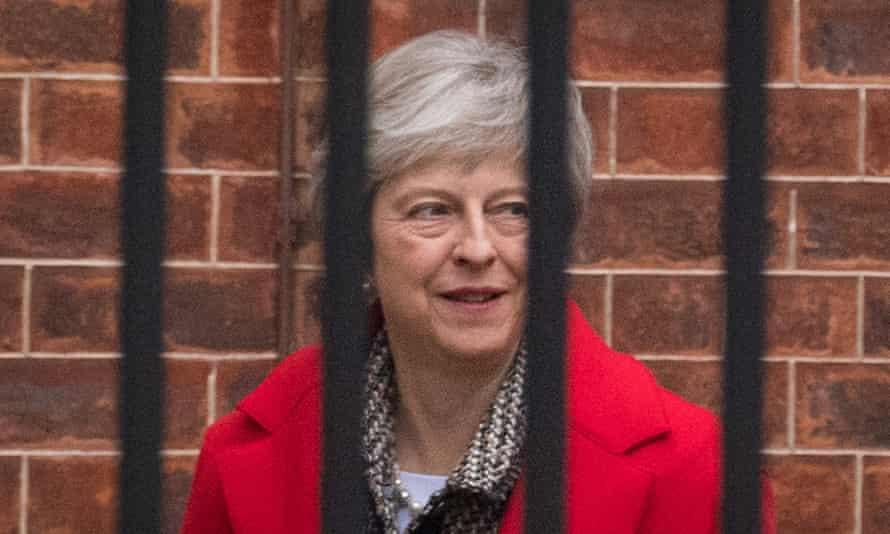 Theresa May at the rear entrance of No 10 Downing Street on Friday.