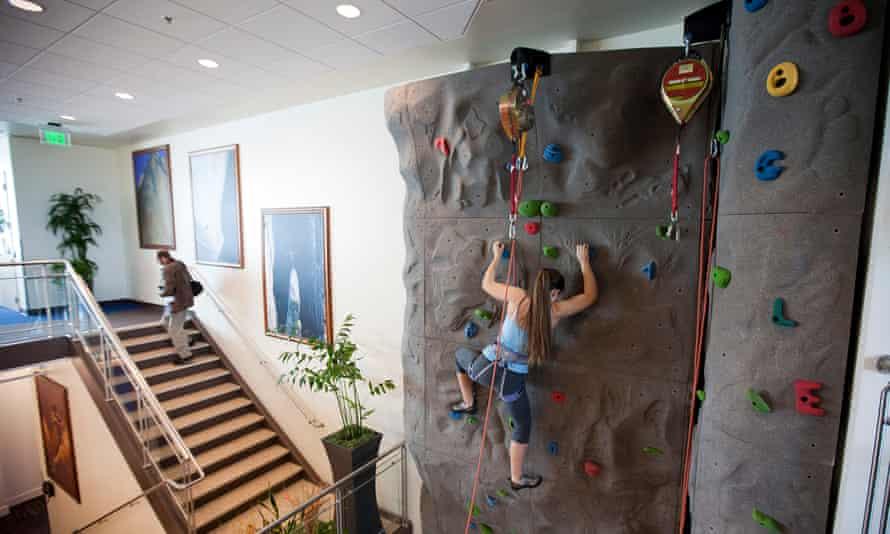 Google employee using workplace climbing wall