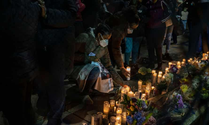 Community members attend a vigil in memory of Xavier Louis-Jacques, 19, of Cambridge, Massachusetts. US homicides rose in 2020.