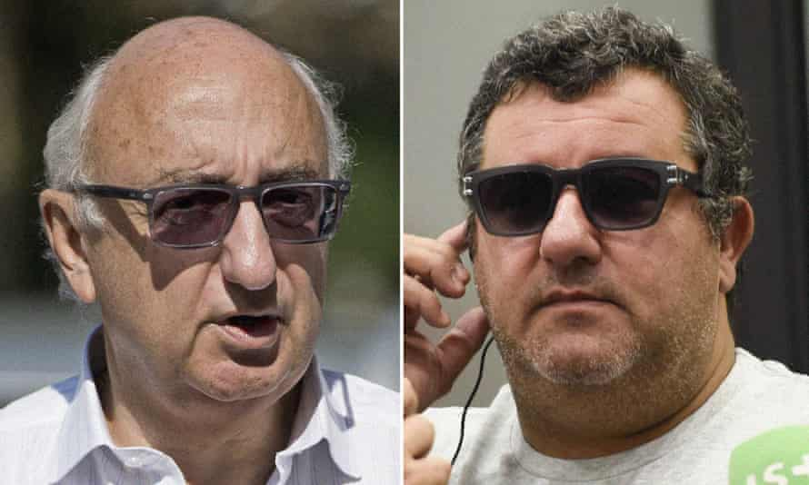 The agents Jonathan Barnett (left) and Mino Raiola are leading figures in the Football Forum, which is determined to block Fifa's reforms.