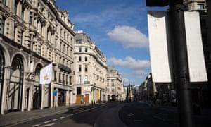 A deserted Regent Street in central London.