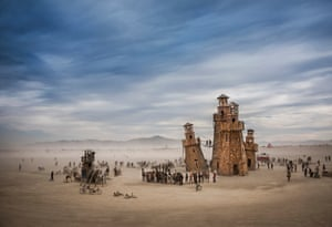 Black Rock Lighthouse Service in the Nevada desert, USA. Sense of Place category