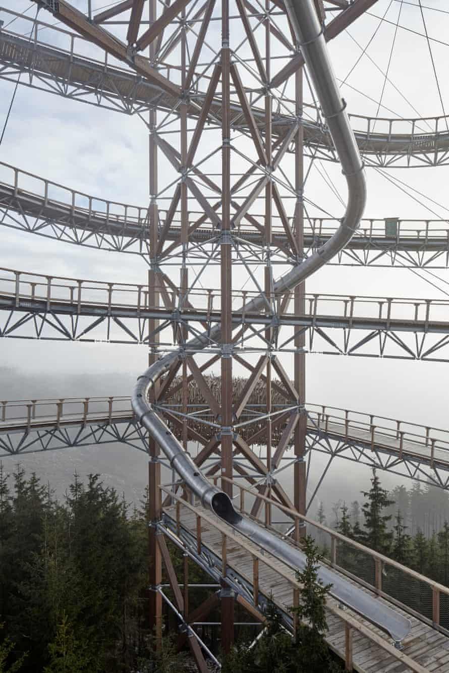 The Dolní Moravia Skywalk slide on the Králický Sněžník mountain in the Czech Republic.