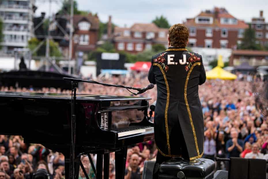 Elton John performing in Hove, June 2019.
