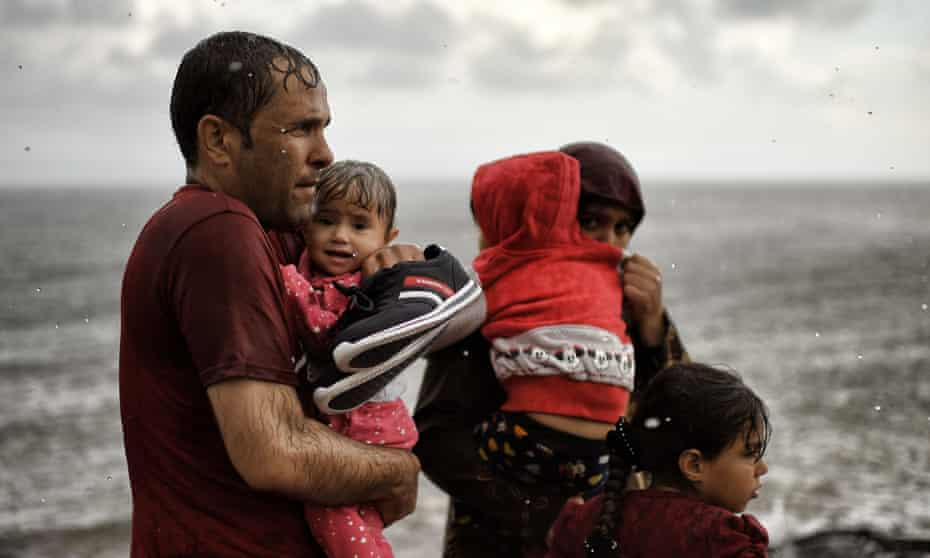Refugees and migrants on  Greek island of Lesbos