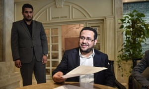 Abdel Hakim Belhaj with the letter of apology fat the British consulate in Istanbul.