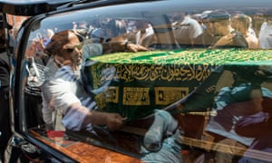 Mohammad Alhajali's casket was taken for burial and his family paid tribute to him in a statement.