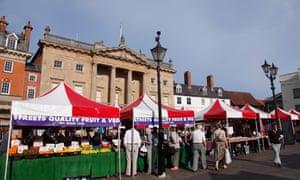 The marketplace at Newark-on-Trent, Nottinghamshire.