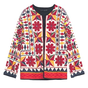 embroidered patterned jacket red yellow white black