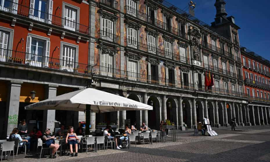 An unusually quiet day at Madrid's Plaza Mayor.