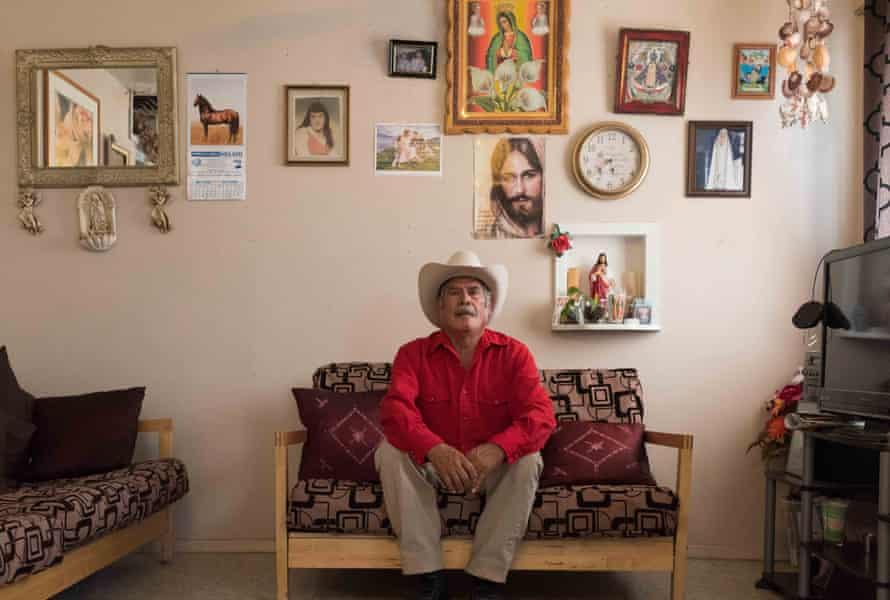 Efren Macias in his one-room rented apartment.