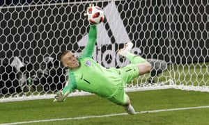 Jordan Pickford saves during penalty shootout victory over Colombia in the World Cup last-16 game in Moscow.
