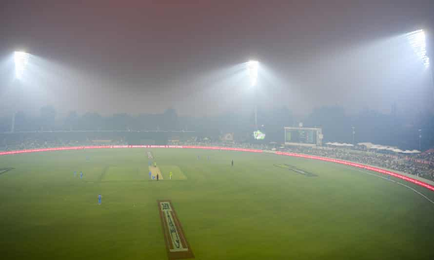 Smoke haze from bushfires at a Big Bash cricket match in Canberra in December 2019