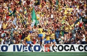 Brazil celebrate Socrates' goal.