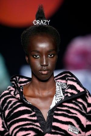 A model wears a diamante 'crazy' barrette by Ashley Williams.
