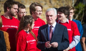 John McDonnell talks with young Labour party members