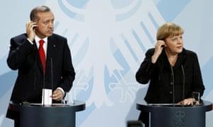 Recep Tayyip Erdoğan and Angela Merkel during a press conference in 2012.