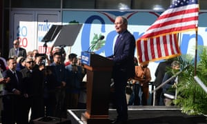 "Democratic presidential candidate Mike Bloomberg speaks during the kickoff of his ""Get it Done Express"" bus tour at Dollarhide Community Center in Compton, California on February 3, 2020."