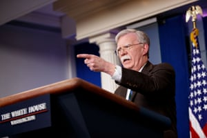 U.S. National Security Advisor John Bolton speaks at a press briefing at the White House in Washington D.C., the United States, on Nov. 27, 2018.