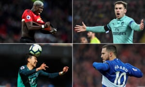 (Clockwise from bottom right) Eden Hazard, Son Heung-min and Paul Pogba are all involved as the top four race goes to the wire, while Arsenal hope for a swift return from injury for Aaron Ramsey (top right).