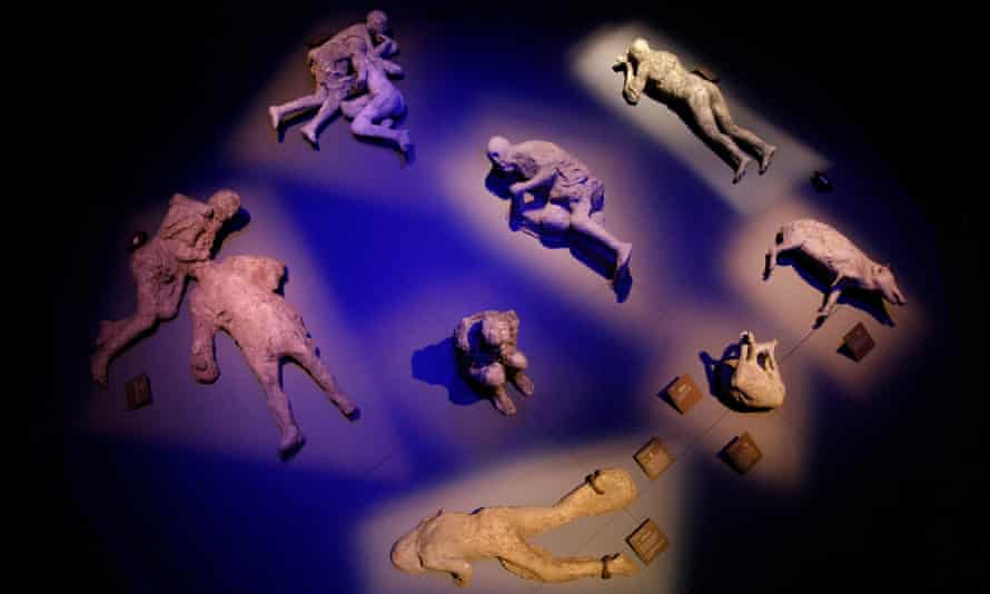 Plaster casts of victims of the Mount Vesuvius eruption, which destroyed the Roman city of Pompeii in AD79.