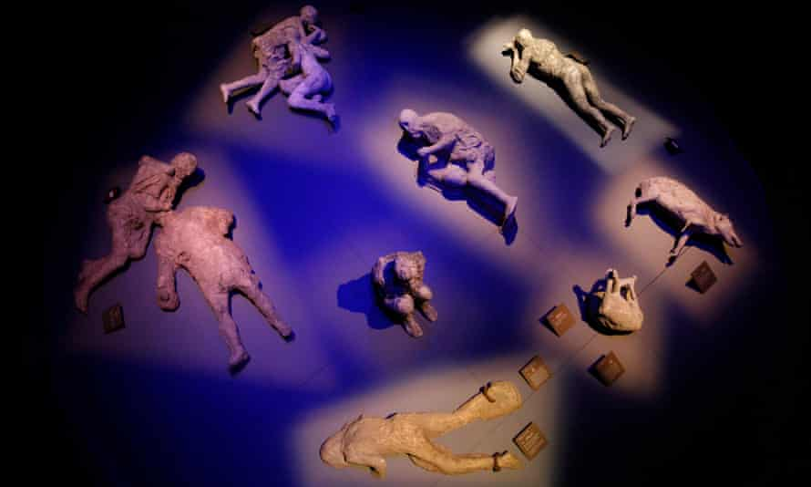 Plaster casts of victims of the eruption of Mount Vesuvius, which destroyed the Roman city of Pompeii in AD79.