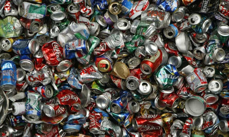 Recycled aluminum cans at the Norcal Waste recycling facility in San Francisco. Californians recycled more than 18bn beverage containers in 2015.