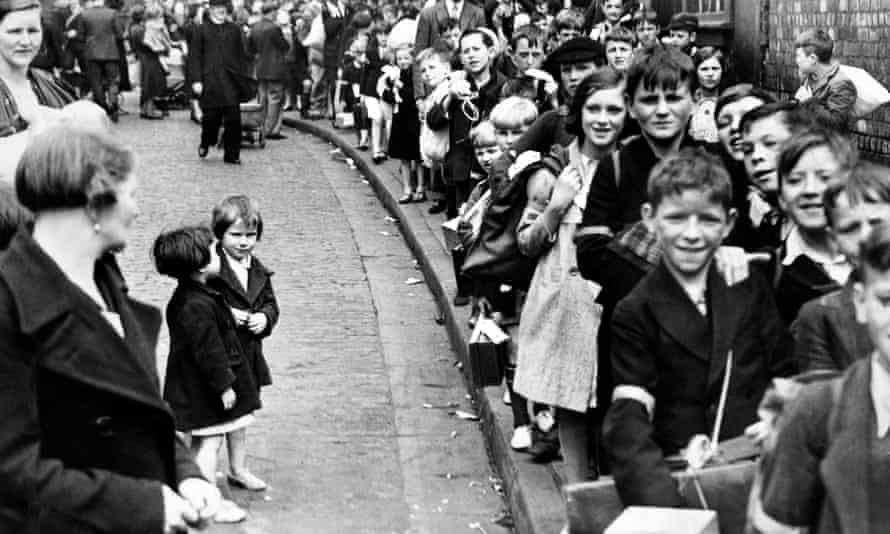 An evacuation rehearsal at St Vincent RC School on 29 August 1939.