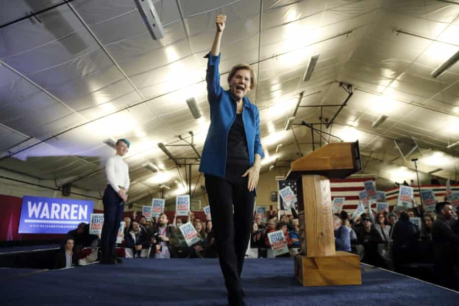 Elizabeth Warren addresses supporters at a rally in New Hampshire.