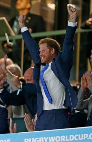 Prince Harry celebrates an England try.