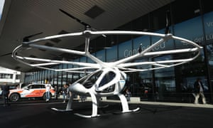 the volocopter 2x on the ground at the frankfurt auto show in 2017