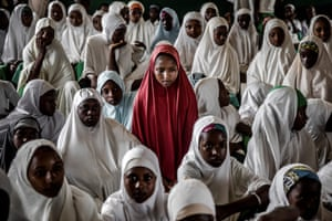 A group of Fulani girls attend Wuro Fulbe Nomadic School in Kacha grazing reserve for Fulani people