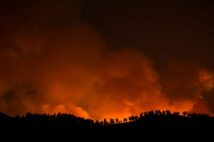 Gran Canaria, SpainFlames and smoke from a forest fire are seen in the village of Valleseco