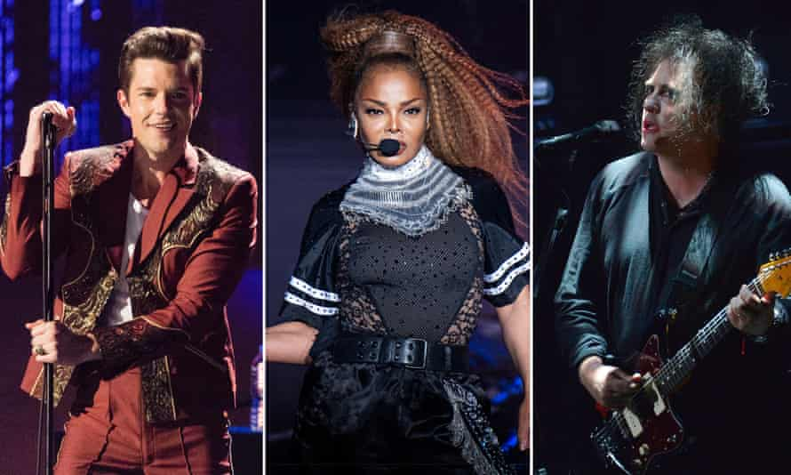 (L-R) The Killers' Brandon Flowers, Janet Jackson and Robert Smith of the Cure.