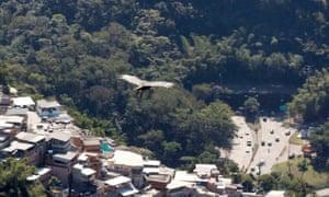 A Condor soars high above the favela Santa Marta