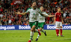 Shane Duffy celebrates after scoring for the Republic of Ireland in their 1-1 draw with Denmark in Copenhagen