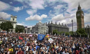 Remain voters gather in Parliament Square in July 2016, shortly after the EU referendum.