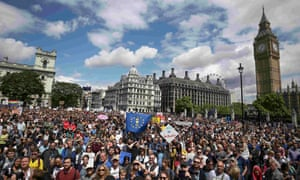 Thousands of protesters on the March for Europe have reached Parliament Square.