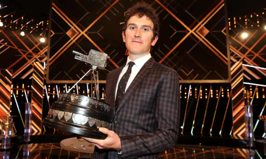 Geraint Thomas poses after winning the BBC Sports Personality of the Year award.