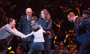 Vlada Borovko (Clotilde), Brindley Sherratt (Oroveso), Niamh Worrell, Sonya Yoncheva (Norma) and Joseph Calleja (Pollione) in Norma by Bellini at the Royal Opera House.